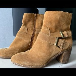 Brown Suede Ann Klein booties.